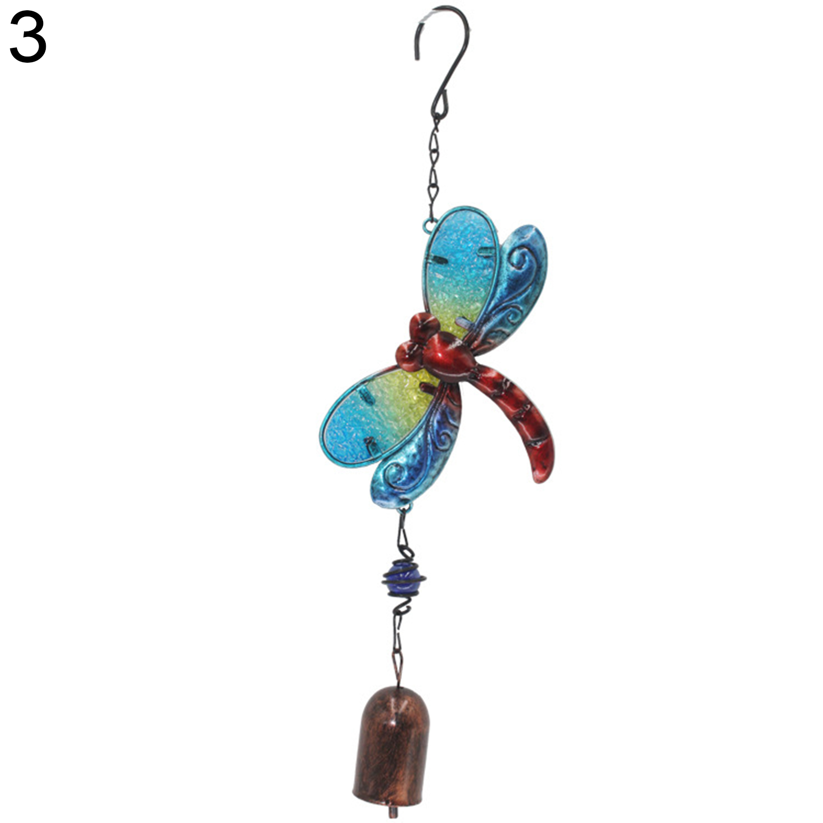 Metal Wind Chime Diamond Glass Painted Butterfly Dragonfly Home Decor Pendant