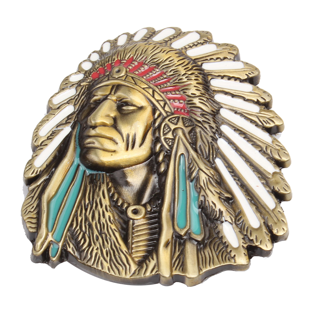 Vintage-American-Native-Indian-Chief-Feather-Western-Badge-Belt-Buckle-Newly thumbnail 5