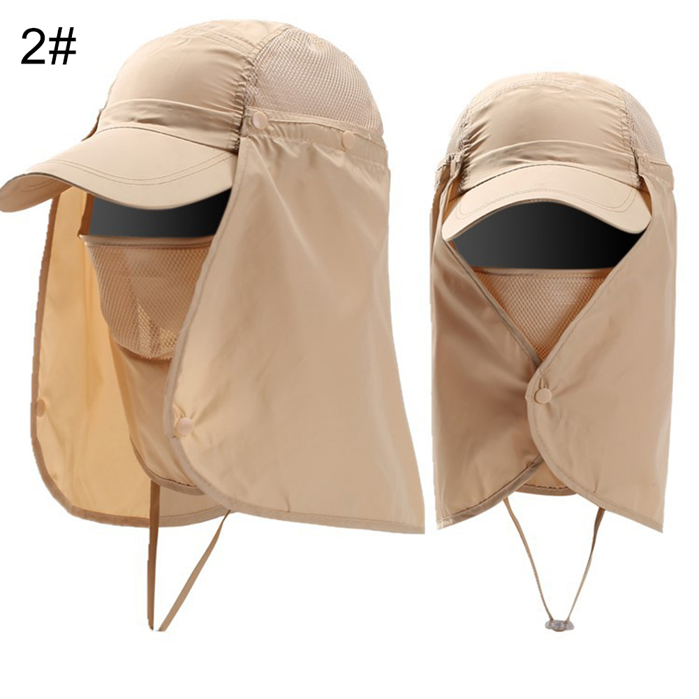 Cap-UV-Protection-Adjustable-Baseball-Cap-Blank-Solid-Hat-with-Face-Neck-Flap thumbnail 13