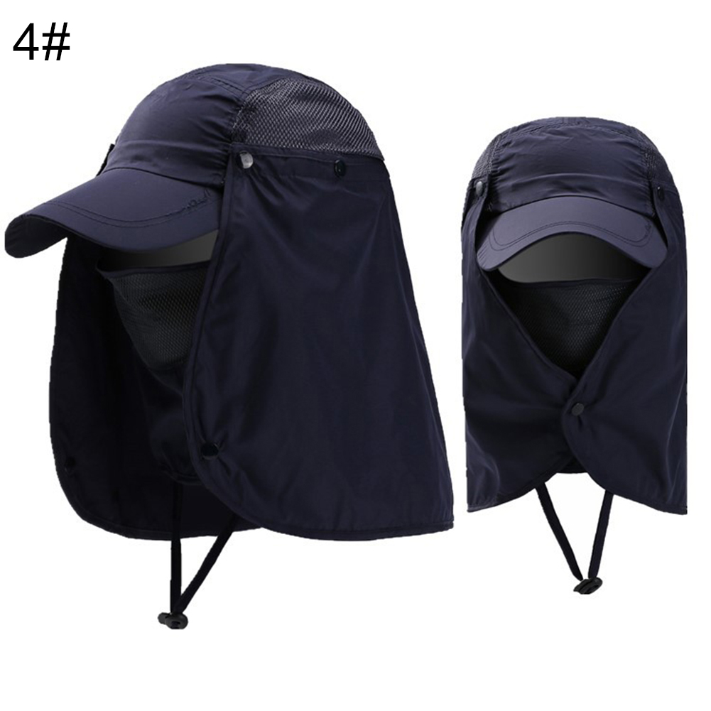 Cap-UV-Protection-Adjustable-Baseball-Cap-Blank-Solid-Hat-with-Face-Neck-Flap thumbnail 15