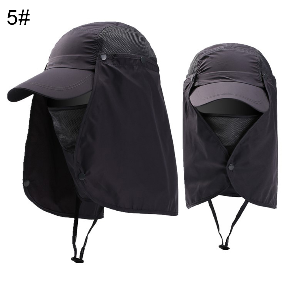 Cap-UV-Protection-Adjustable-Baseball-Cap-Blank-Solid-Hat-with-Face-Neck-Flap thumbnail 14