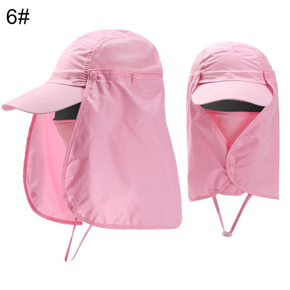 Cap-UV-Protection-Adjustable-Baseball-Cap-Blank-Solid-Hat-with-Face-Neck-Flap thumbnail 12