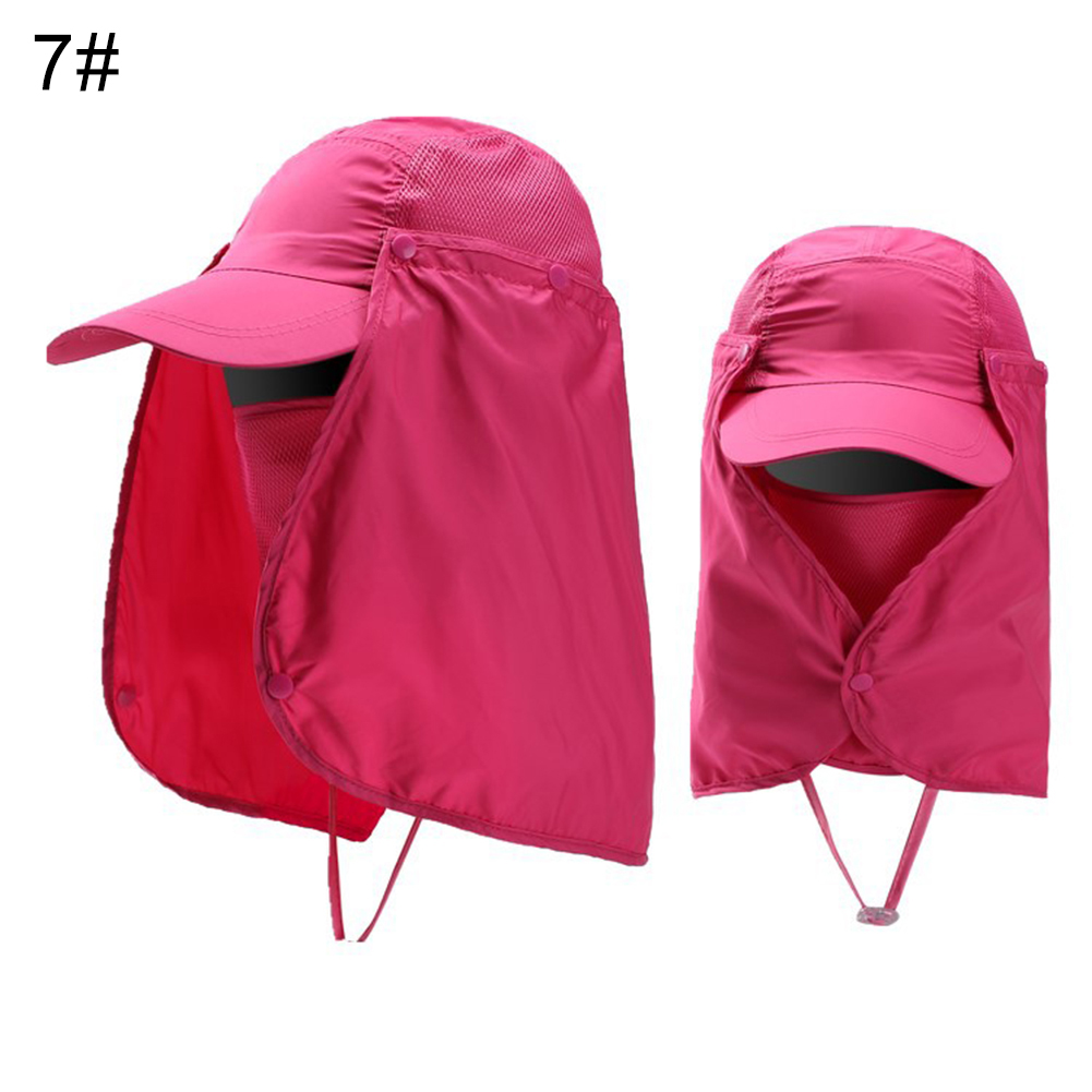 Cap-UV-Protection-Adjustable-Baseball-Cap-Blank-Solid-Hat-with-Face-Neck-Flap thumbnail 16