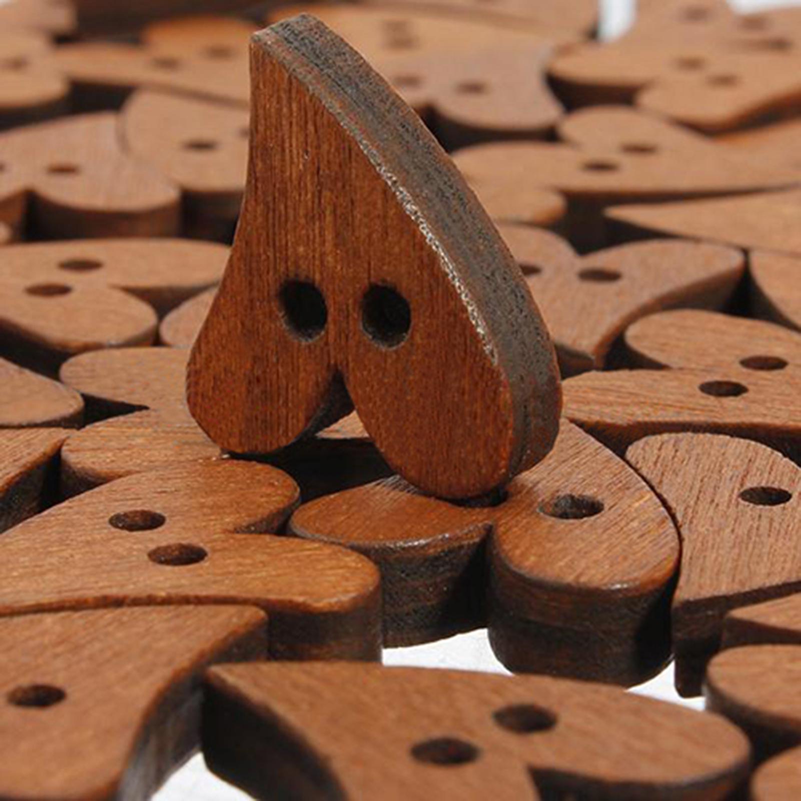100Pcs Mini Wooden 2-Hole Heart Shape Button DIY Sewing Scrapbooking Tool Nett